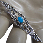 Vintage Sterling Silver Turquoise Double Herons Pin