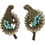 Antique Screw Back Parrot Earrings Faux Pearls