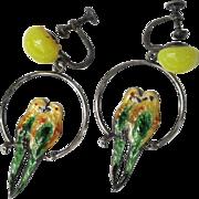 Vintage Sterling Silver Lovebird Hoop Earrings