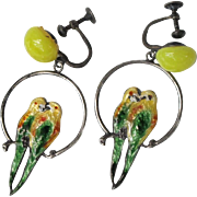 Vintage Sterling Silver Lovebird Hoop Earrings