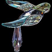 Vintage Sterling Silver Swarovski Parrot Brooch