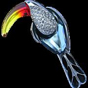 Vintage Swarovski Sterling Silver Toucan Brooch