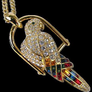 Vintage Nolan Miller Parrot Necklace Brooch Convertible