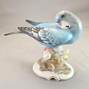 Vintage Hutschenreuther Germany Blue Budgie Parakeet Figurine