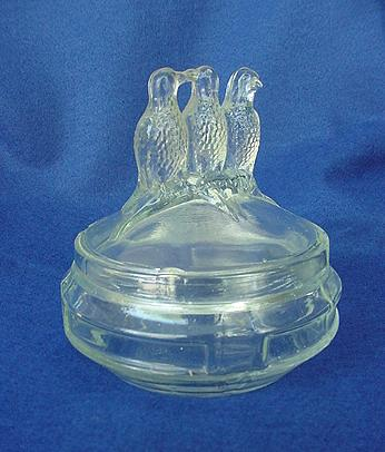 Vintage Depression Three Birds Glass Powder Jar