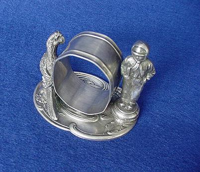 Antique Boy and Parrot Napkin Ring
