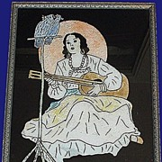 Art Deco Woman Cockatoos Guitar Reverse Painted Foil Picture