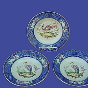 Antique Royal Doulton Flow Blue Soup Bowls Birds