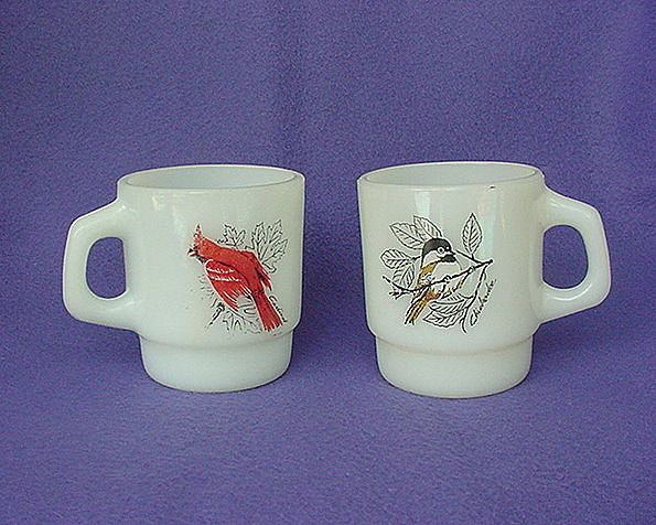 Vintage Anchor Hocking Cardinal Chickadee Mugs