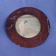 Unusual Antique Round Seagull Frame Lady Seashore Print