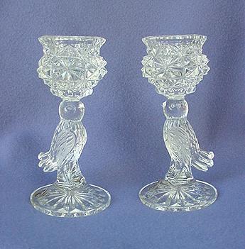 Vintage Hofbauer Bird Crystal Candleholders