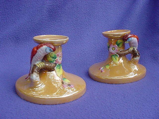Vintage Japan Parrot Luster Candle Holders