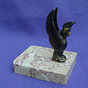Art Deco Cockatoo Metal Marble Card Holder