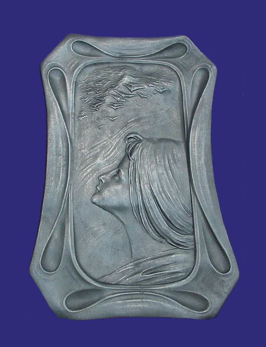Art Nouveau Pewter Calling Card Tray Woman Birds