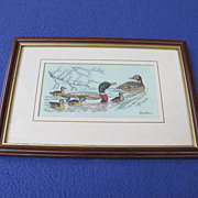 Vintage Framed Woven Silk Picture of Mallard Ducks