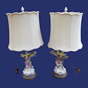 Vintage Cordey Bird Lamp Pair Original Shades
