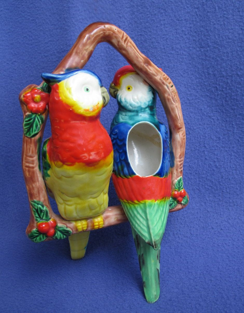 Vintage Japan Majolica Hanging Cockatoo Planter