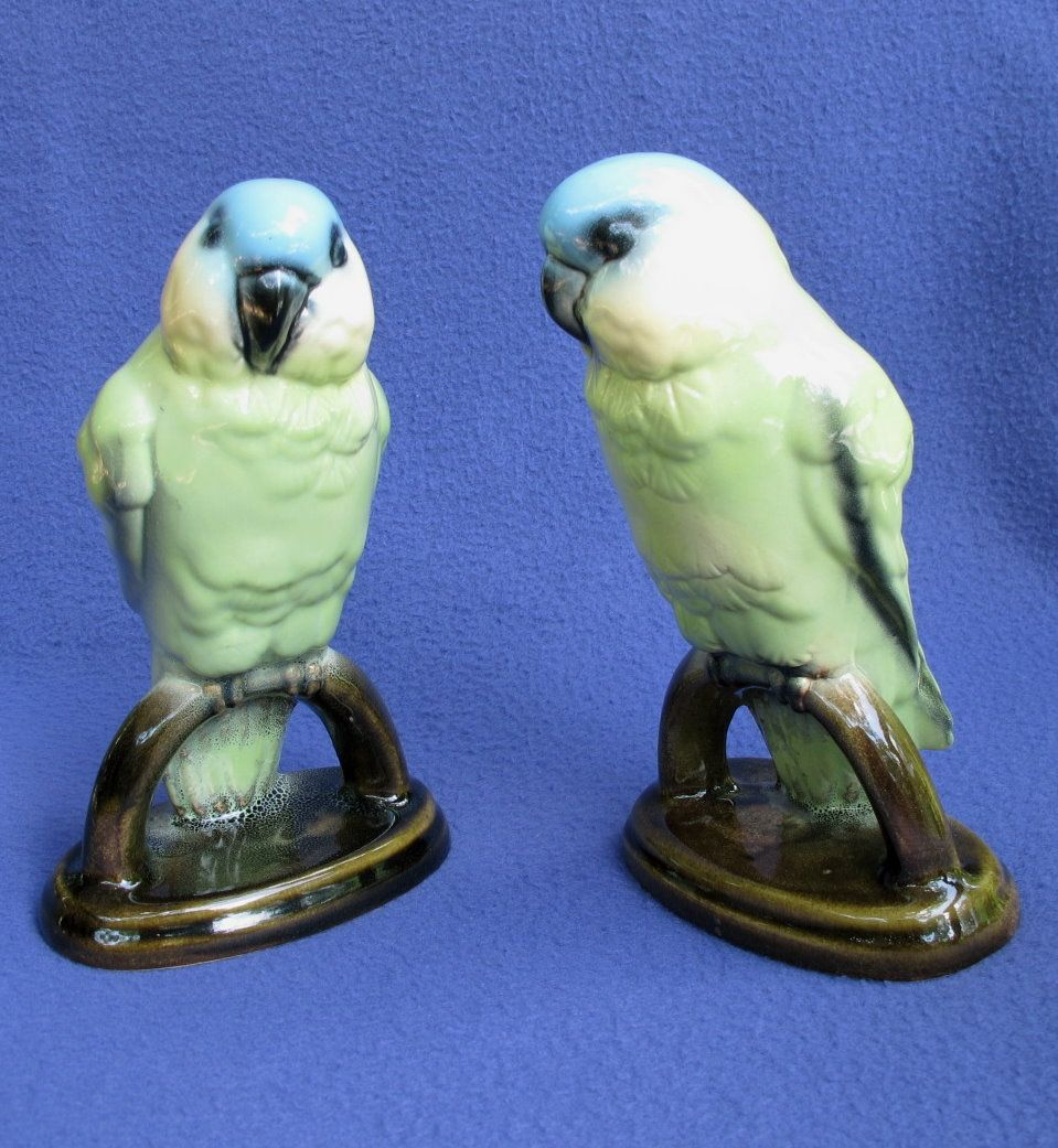 Vintage Blue Fronted Amazon Parrot Figurines Germany