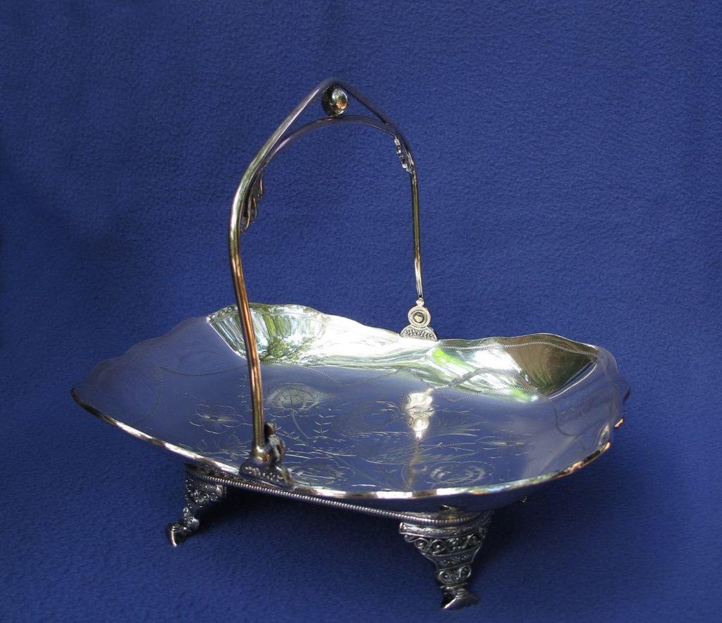 Victorian Antique Silver Plate Cake Basket Bird Motif