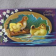 Antique Easter Chicks Duck Postcard