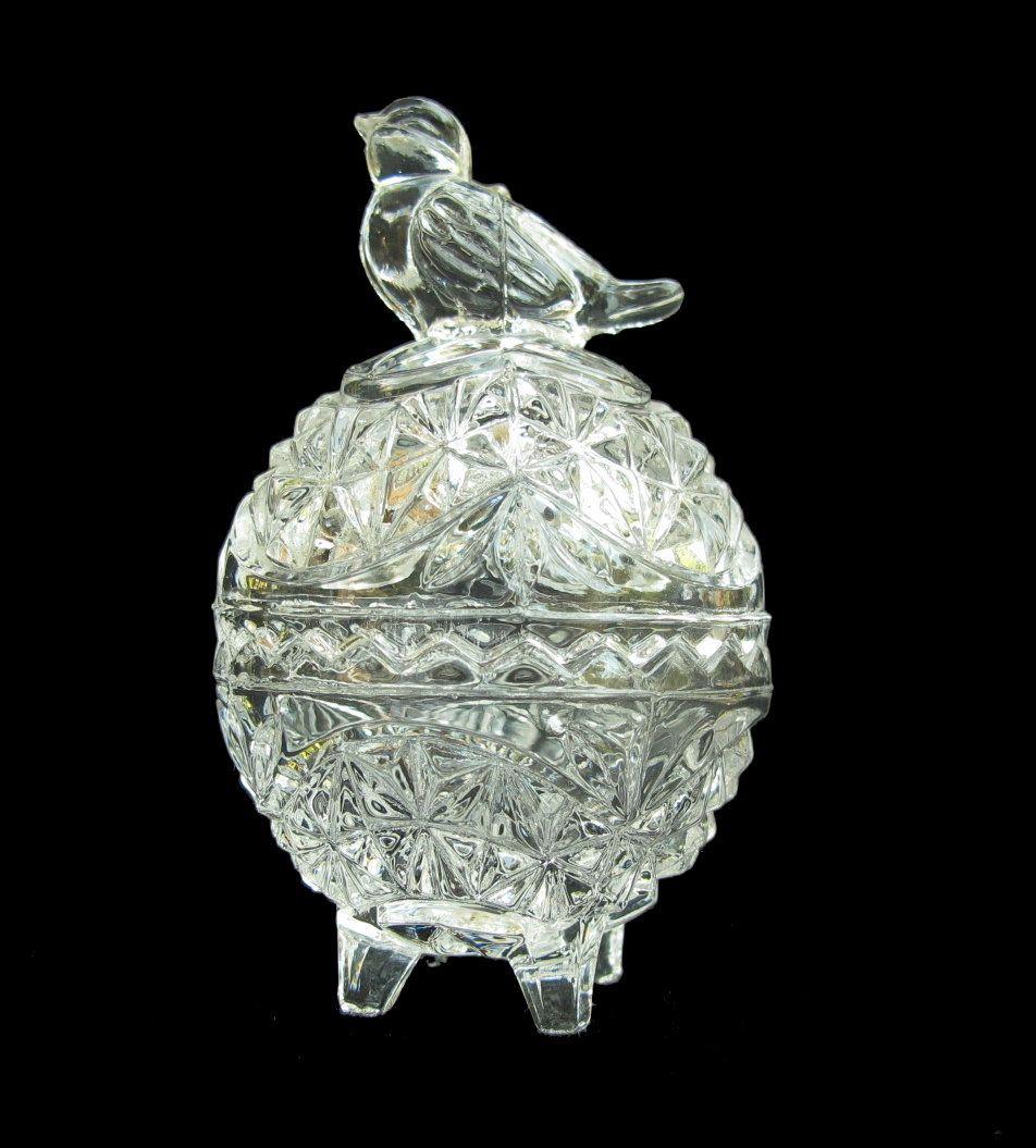 Byrdes Egg Shaped Footed Trinket Jar