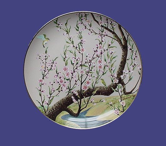 Franklin Mint White-eye and Peach Oriental Plate