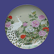 Birds and Flowers of the Orient Plate: Peacock and Peony - Red Tag Sale Item