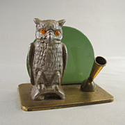 Art Deco Metal Owl Pen / Pencil Holder