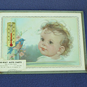 Vintage Baby and Bluebird Advertising Thermometer - Red Tag Sale Item