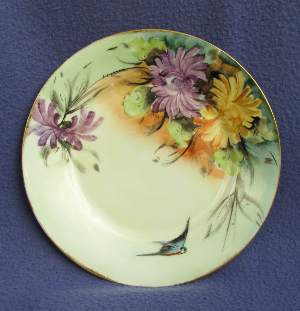 Hand Painted Bluebird and Mums Plate from Germany