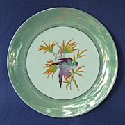 1920's - 30's Lusterware Germany Plate w/ Cockatoo & Parrot