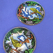 Art Deco Reverse Painted Budgie Bubble Pics from England