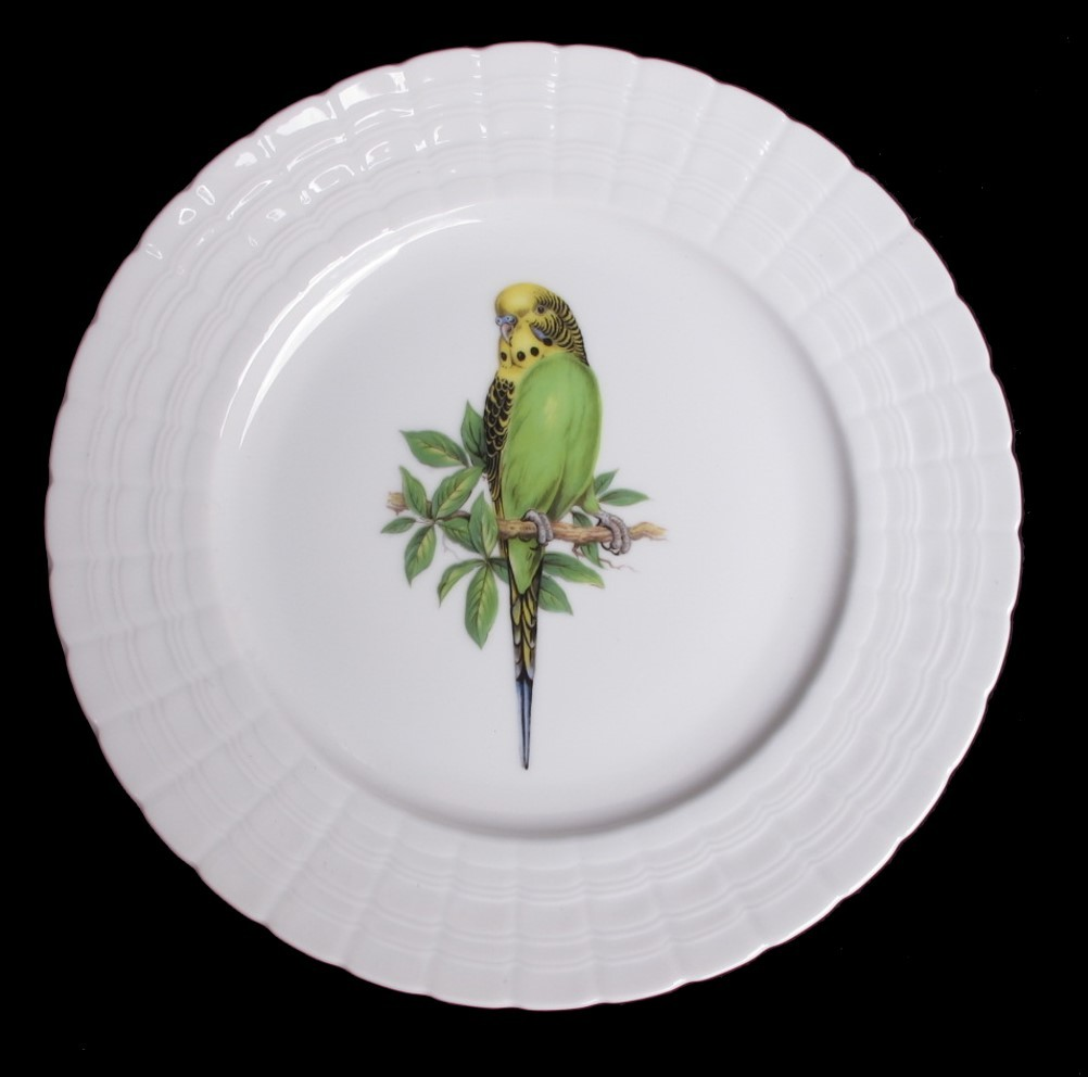 Vintage Hutschenreuther Germany Green Budgie Plate