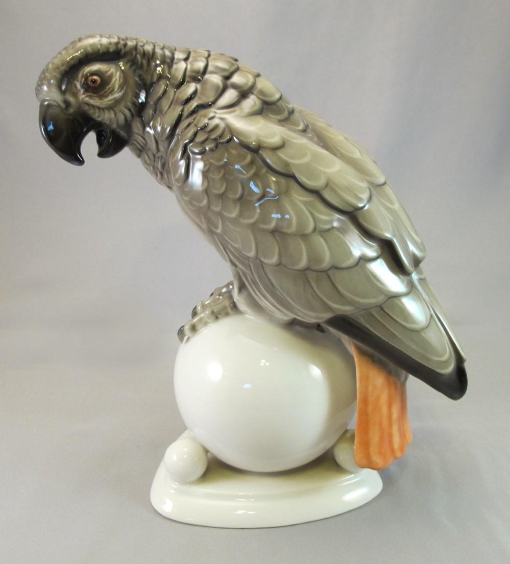 Vintage Art Deco Hutschenreuther Germany African Grey Figurine