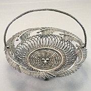 Vinatge Silverplate Fern and Egg Basket Card Holder