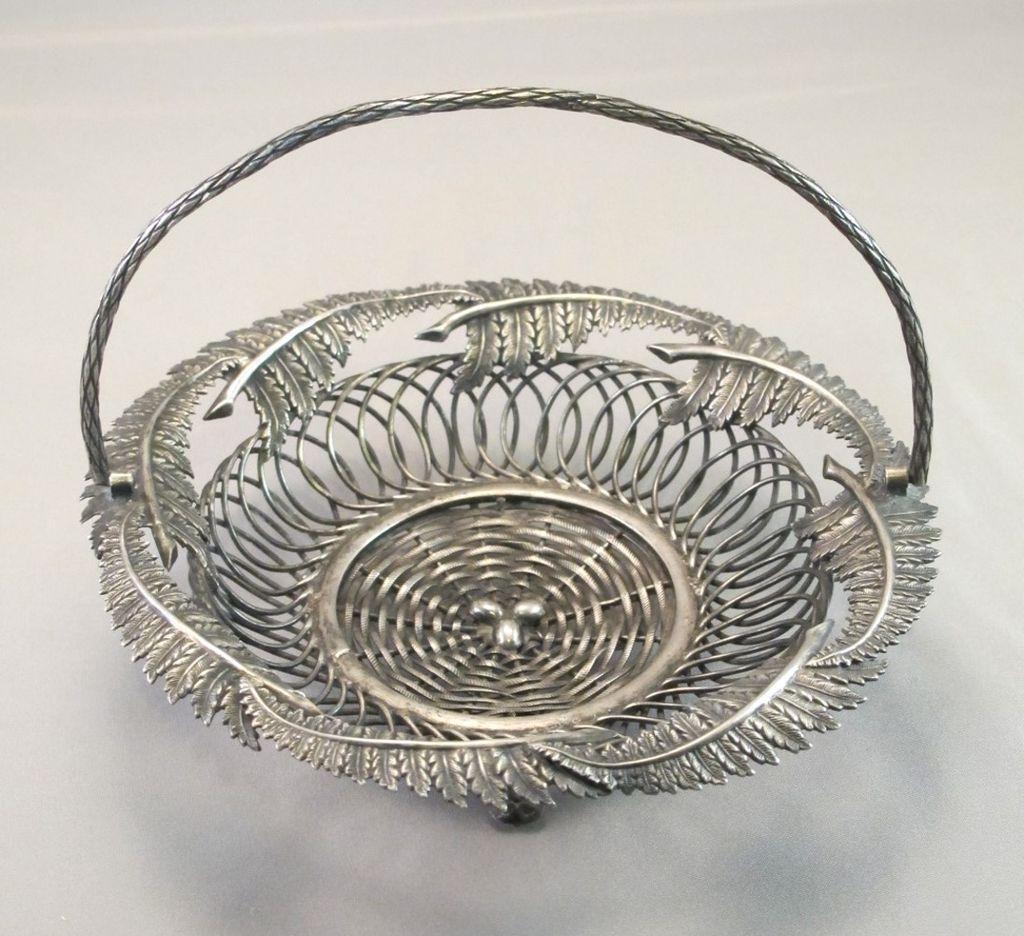 Vinatge Silverplate Fern and Egg Basket Card Holder