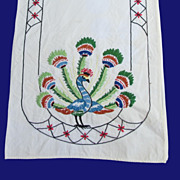 Embroidered Peacock Dresser Scarf / Runner