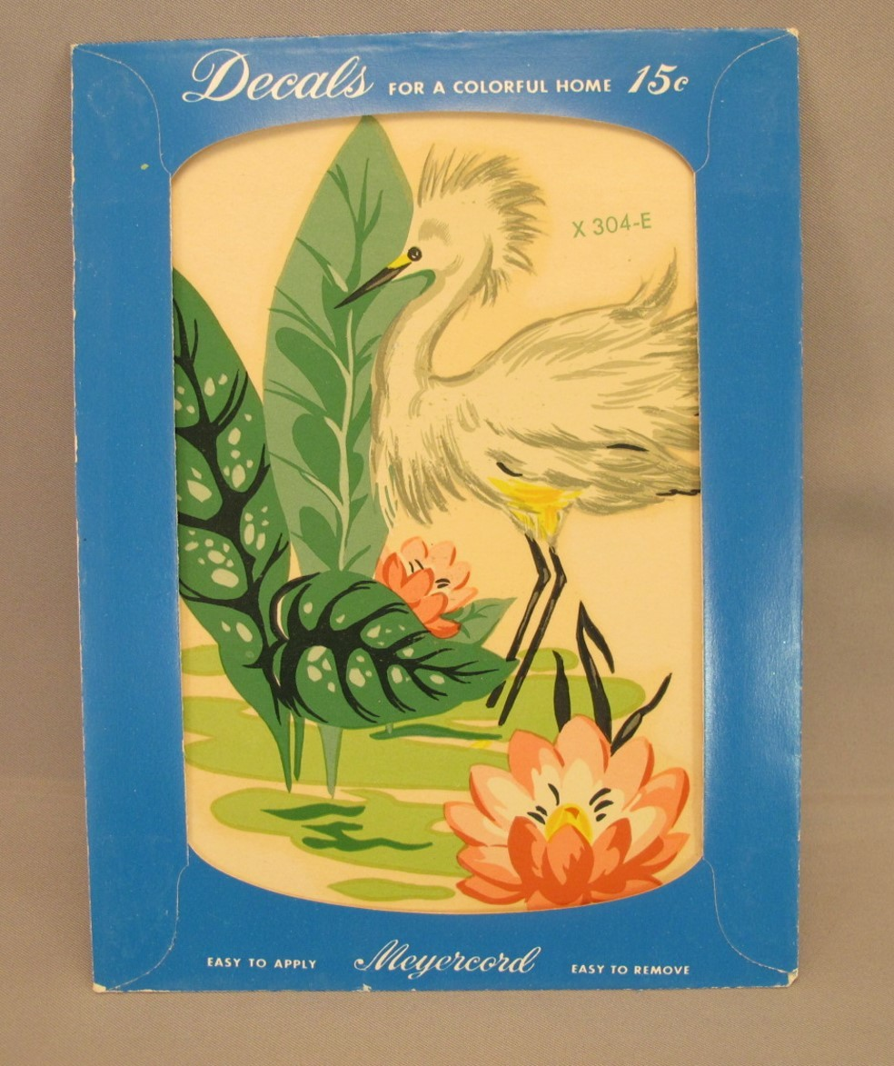 Meyercord Heron and Water Lily Decal - Unopened