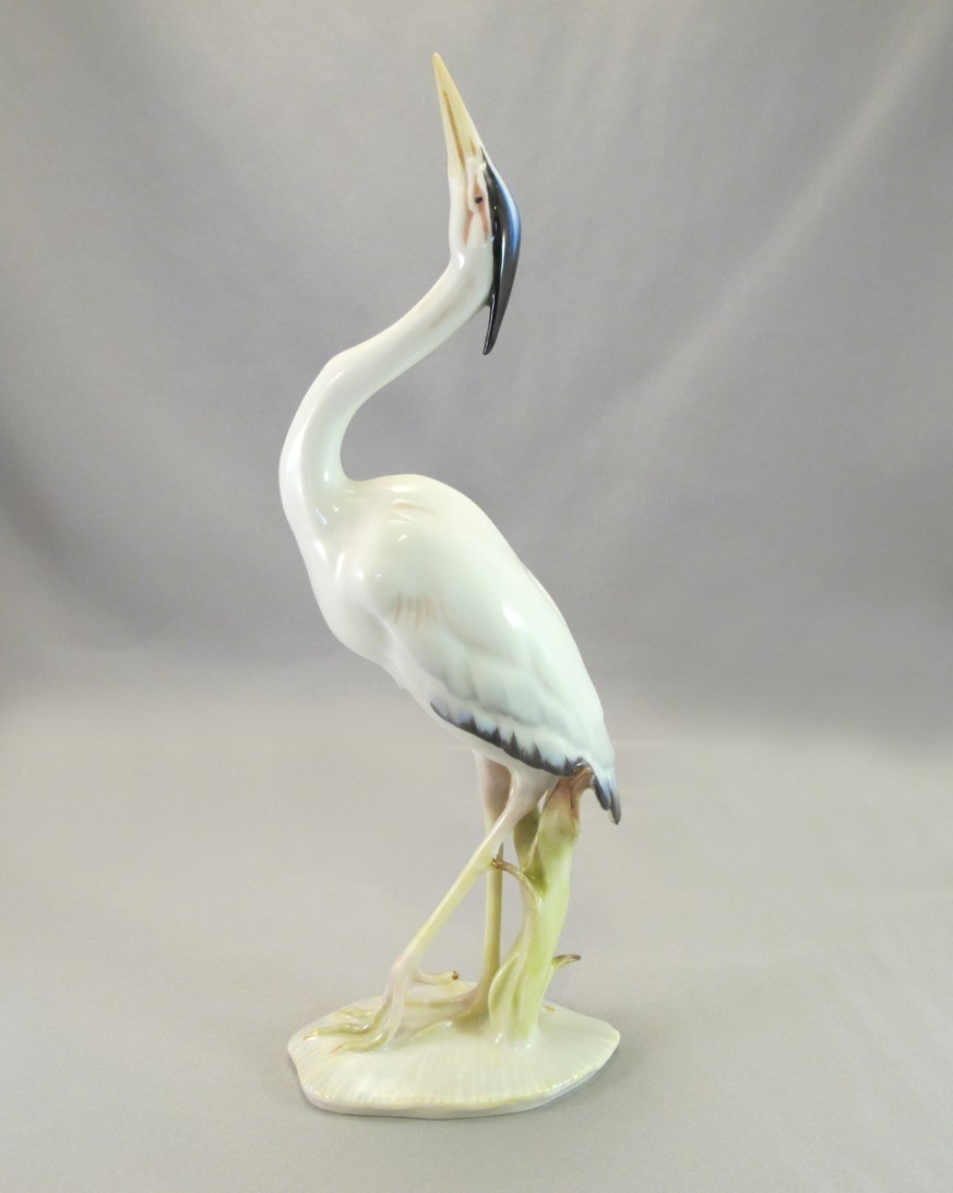 hutschenreuther heron figurine sold on ruby lane. Black Bedroom Furniture Sets. Home Design Ideas
