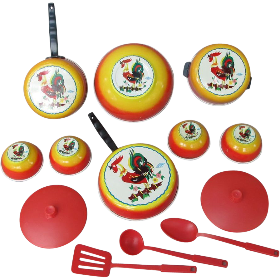 1960's 13 Piece Wolverine Child's Rooster Cook / Salad Set