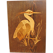 Vintage Intarsia Inlaid Wood Heron Plaque from Europe