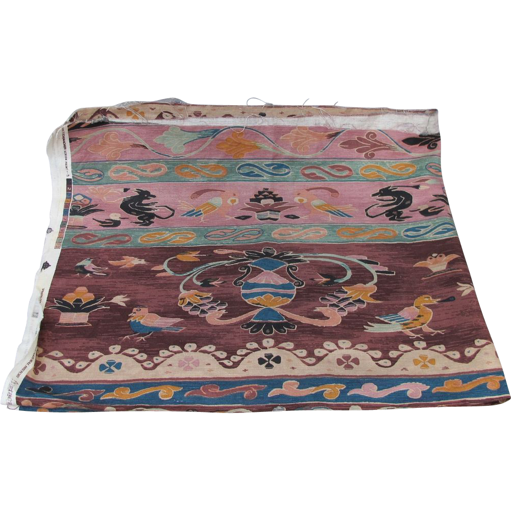 Schumacher Screen Print Museum Batik Fabric w/ Birds Parrots