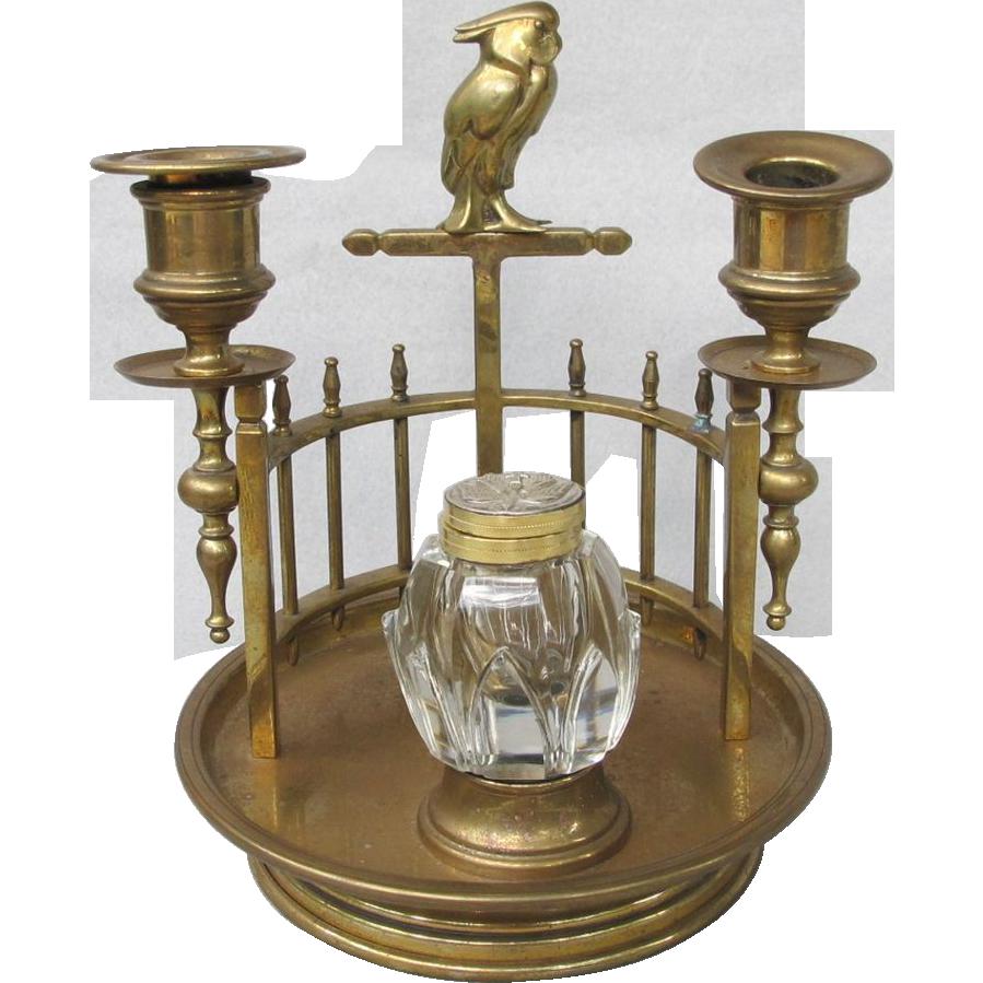 Vintage Art Deco Brass Cockatoo Inkwell Candleholder