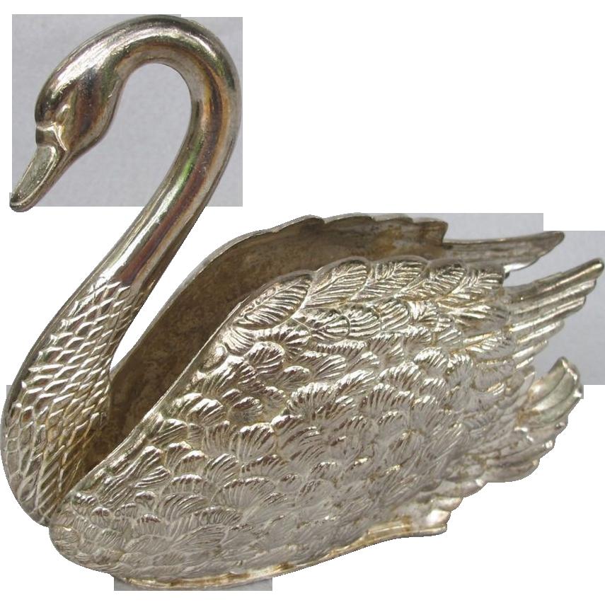 Silverplate Swan Figural Napkin Holder