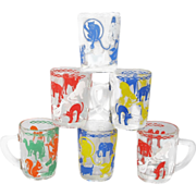 Italian Children's Glass Mug Set with Duck Scottie Elephant Cat
