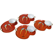 Vintage Noritake Parrot Theme Snack Sets - Set of Four - Red Tag Sale Item