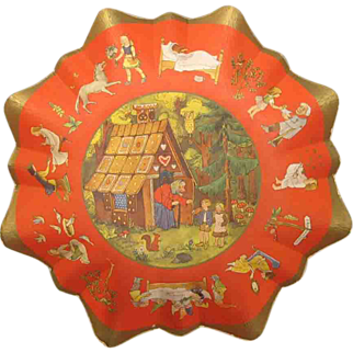 Vintage German Christmas Candy Fairy Tale Cardboard Bowl