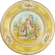Victorian Vienna Art Plate with Woman Doves Pigeons