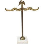 Brass and Marble Eagle Rack Jewelry Watch Holder