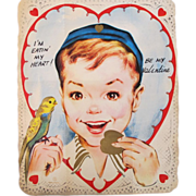 Boy and Budgie Vintage Folding Valentine Large